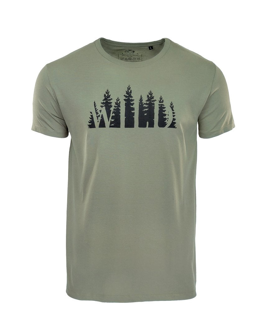 new cheap outlet for sale limpid in sight Wild Forest Print Organic T-shirt in Khaki