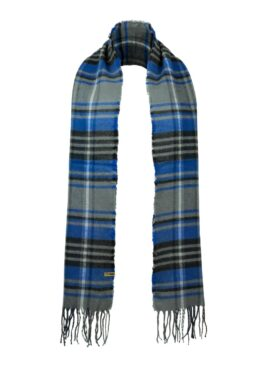 Classic Check Scarf in Grey_Blue Front