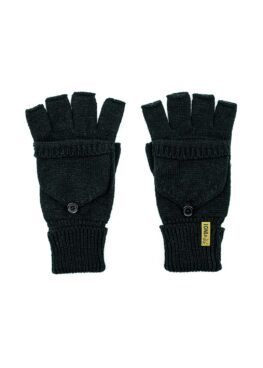 Knitted Fingerless Mittens in Black Top