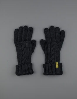 Cable Knit Gloves Black-1