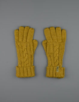 Cable Knit Gloves Mustard-1