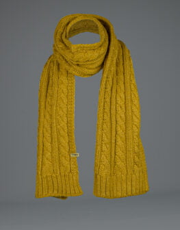 Cable Knit Scarf Mustard-1